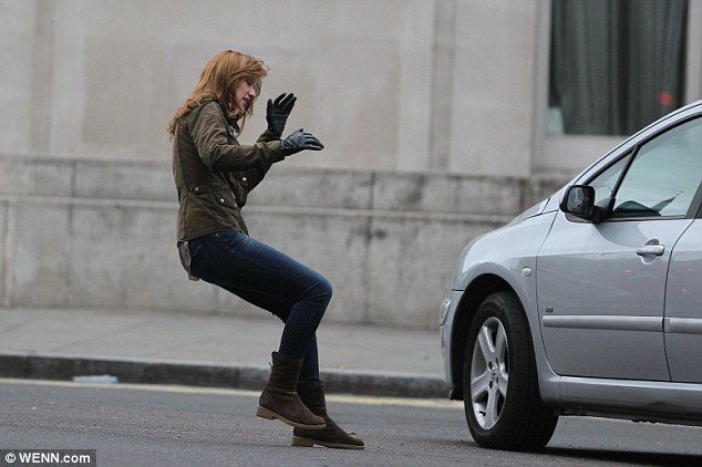 Careful: The actress had to weave through traffic in the shot