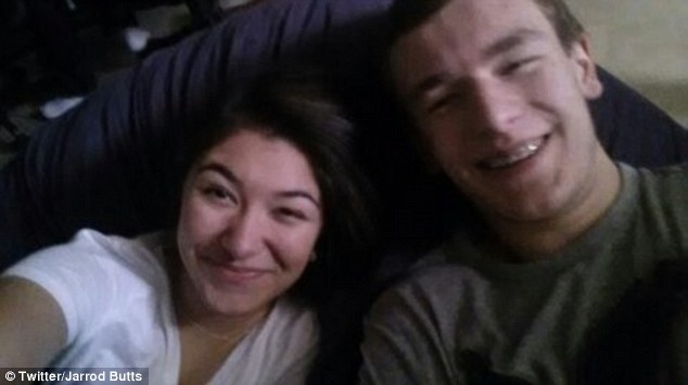 Victim: Maren Sanchez, pictured with her boyfriend Jarrod Butts, was stabbed to death on Friday morning