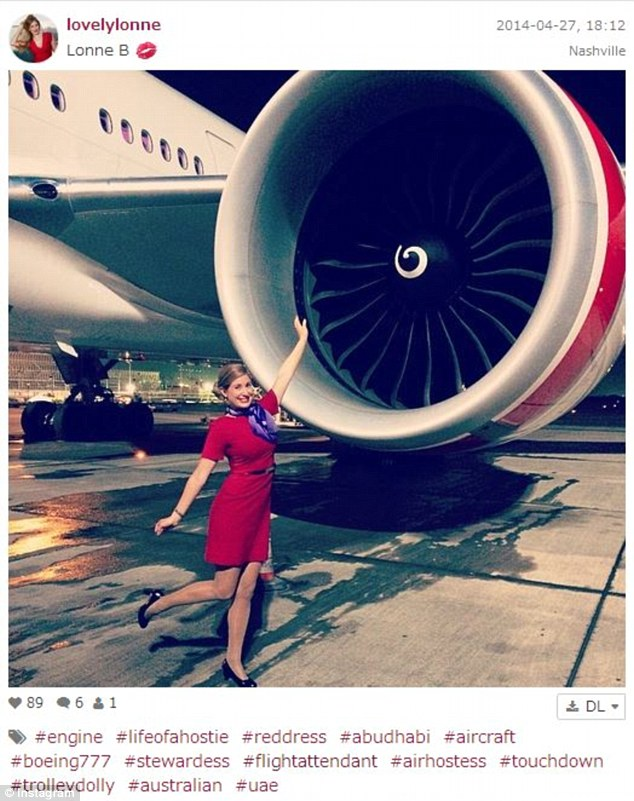 This hostie posed outside the aircraft