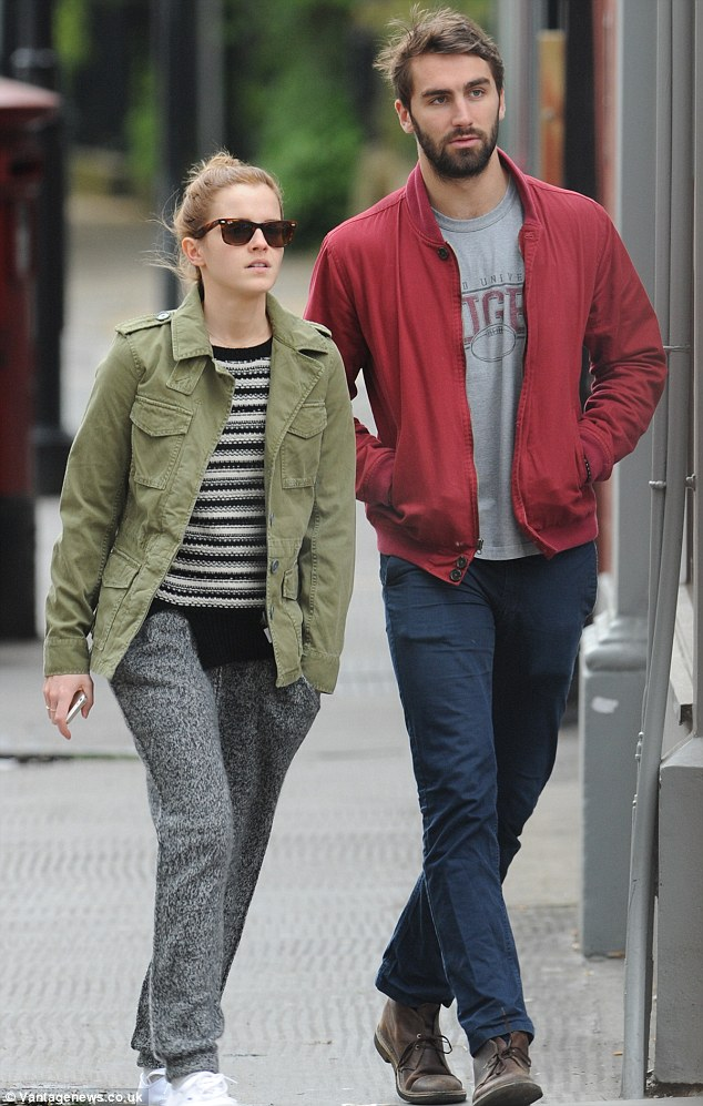 Spending time together: Emma is no doubt enjoying seeing her man after her hectic promo schedule for Noah recently came to an end
