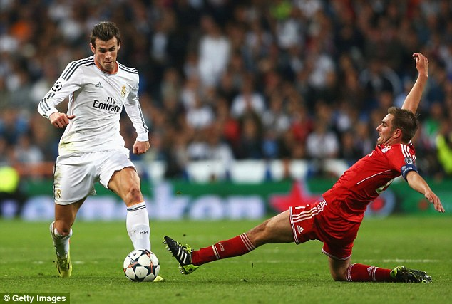On the ball: Bale (left) came on a substitute in Real Madrid's 1-0 first-leg win against Bayern Munich