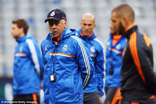 Whistleblower: Real boss Carlo Ancelotti says his side 'intend to score' against Bayern in their second-leg