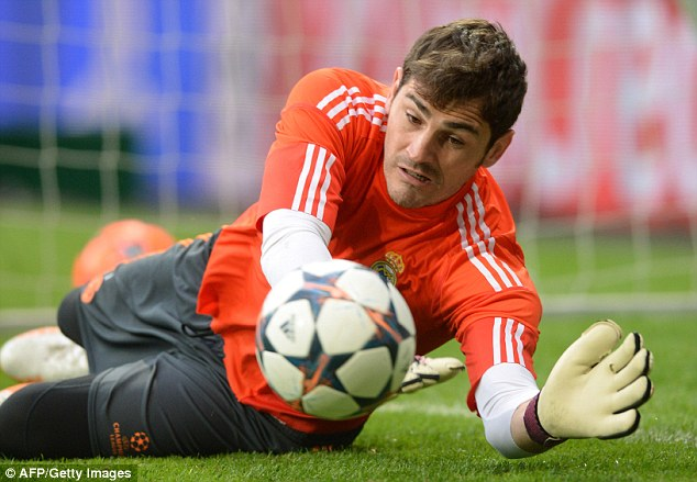 Down low: Goalkeeper Iker Casillas will be looking to keep another clean against the defending champions