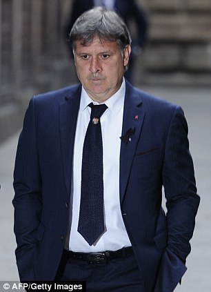 Goodbye: Barca coach Gerardo Martino was also in attendance at the Barcelona Cathedral