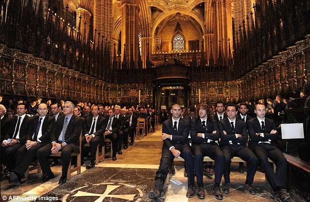 Emotional: Mourners gather at the stunning cathedral in the heart of Barcelona