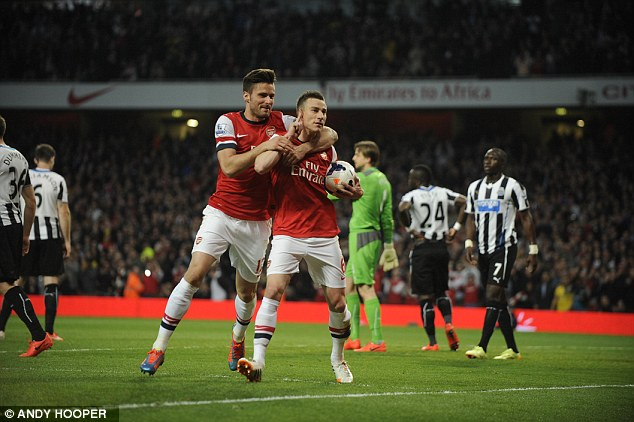 On target: Laurent Koscielny fired Arsenal into the lead just before the half hour mark