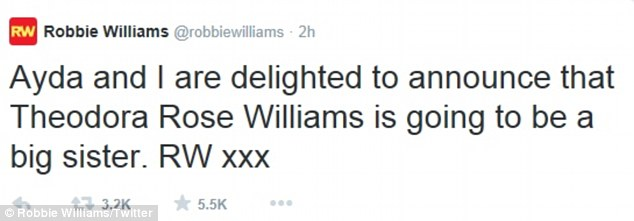 Happiness: Robbie wrote on Twitter that he was 'delighted' to be expecting another child