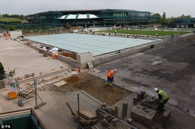 Facelift: Building work is underway at The All England Club at Wimbledon on Tuesday