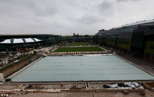 Let's hope the grey skies disappear: A view of the outer courts at SW19 on Tuesday afternoon