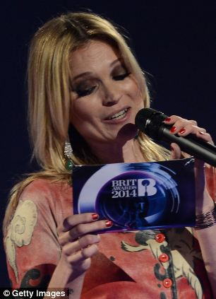 Kate Moss collected Bowie's Brit Award award and read out an acceptance speech on his behalf