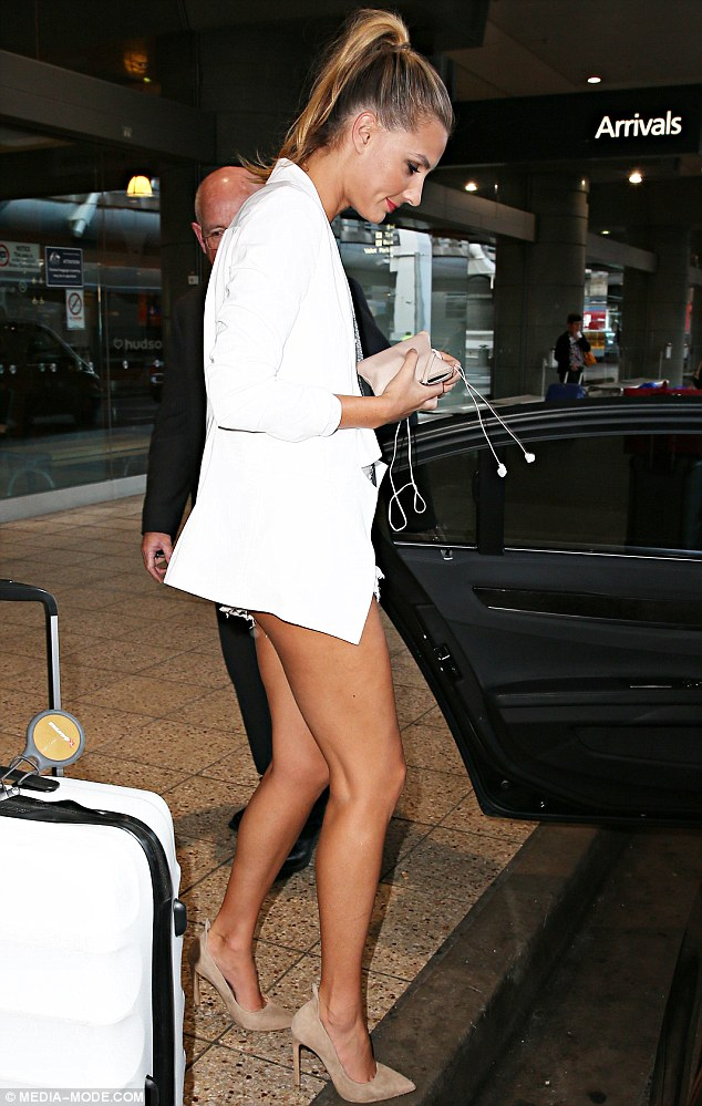 Home time: Laura landed back in her home town of Sydney on Monday