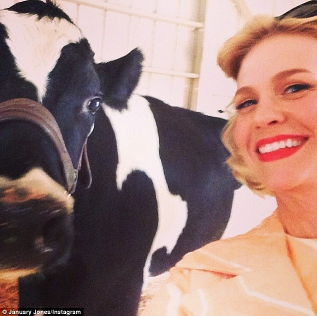 Milk it: January shared a picture of herself in costume as Betty with a cow
