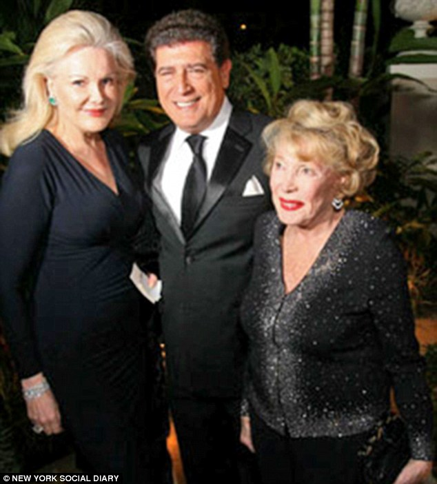 Helga Marston (pictured right) with Nancy Tsai (left) and friend Stephen Lindsay at a lavish charity bash in Palm Beach, Florida in 2009. Tsai was arrested last week after she allegedly scammed millions from Ms Marston
