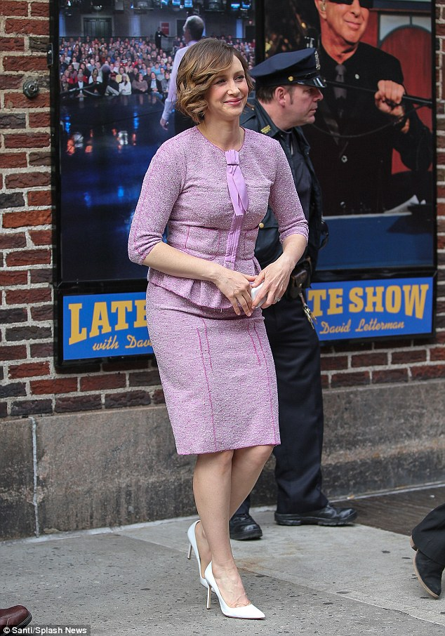 Vera Farmiga channels the fifties in fitted lilac two ... Vera Farmiga Instagram