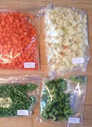 Savvy: Jack divides up frozen veg
