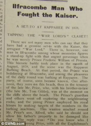 The scrap turned into a local legend by newspapers (left) and was used to raise morale of troops in the trenches.