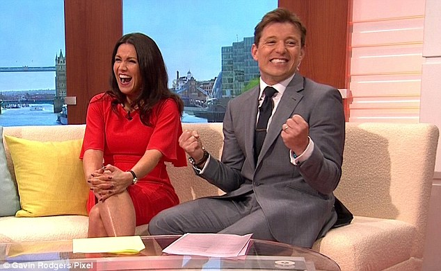 Smiles better: Reid and Shephard laugh together on the sofa during the debut Good Morning Britain show