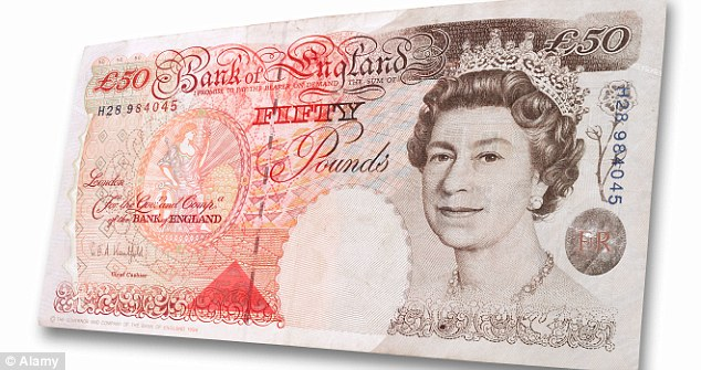 Going out of circulation: The old £50 banknotes, which are now being replaced