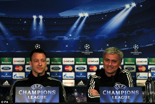 Facing the media: Mourinho and Chelsea captain John Terry (left) speak at the pre-match press conference
