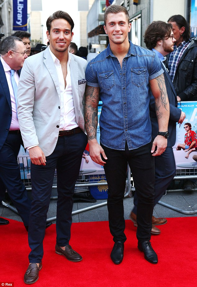 Team naughty: TOWIE star James Lock and his close friend Dan Osborne arrived on the red carpet a short time later