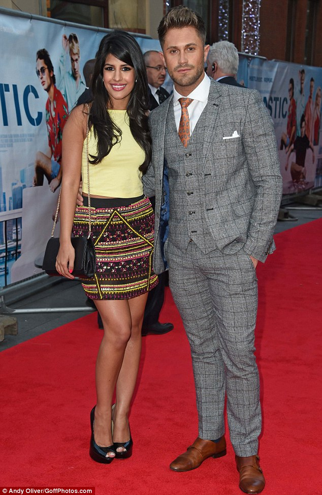 Dating... or just friends? TOWIE star Jasmin Walia arrives at the London premiere of Plastic with Ex Of The Beach star Ross Worswick