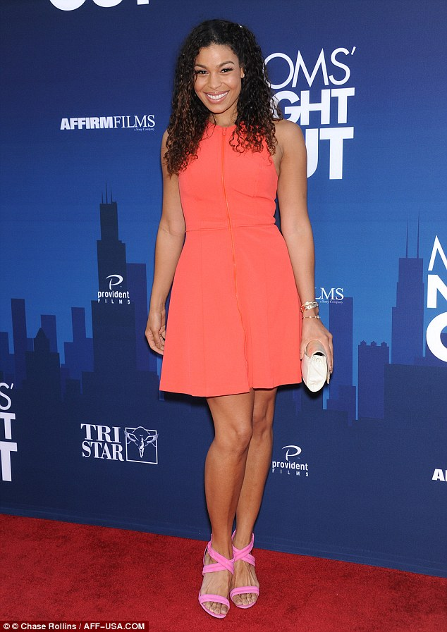 Pop of colour: Jordin Sparks donned a vibrant orange frock paired with pink heels at the premiere of Mom's Night Out in Los Angeles on Tuesday