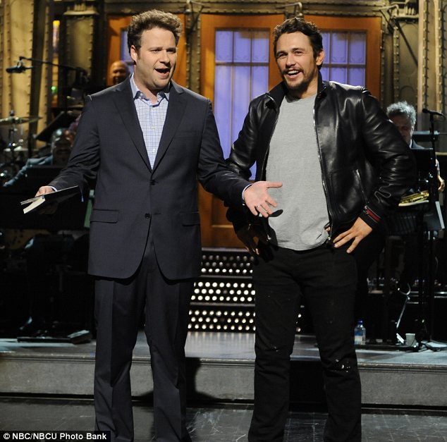 Never far apart: James crashed Seth's Saturday Night Live monologue when he was hosting earlier this month