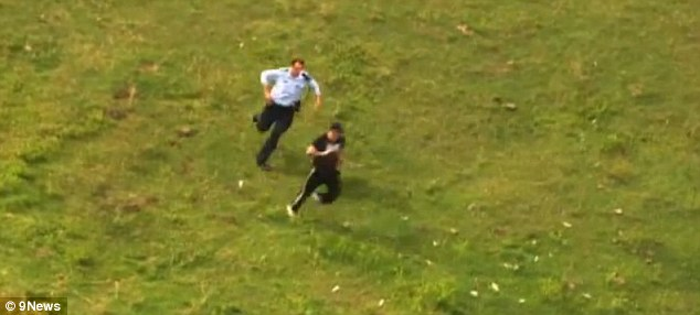 The 32-year-old crashed and fled on foot across fields, before he was eventually tacked by an officer