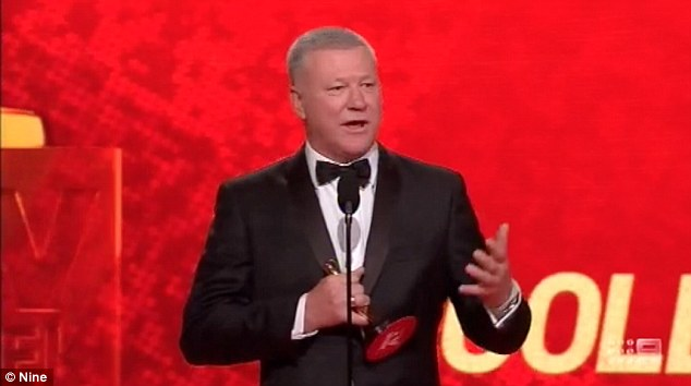 Humble: The presenter thanked his his manager Chris Giannopolous for making 'really good decisions for me and not greedy decisions', during his Gold Logie acceptance speech