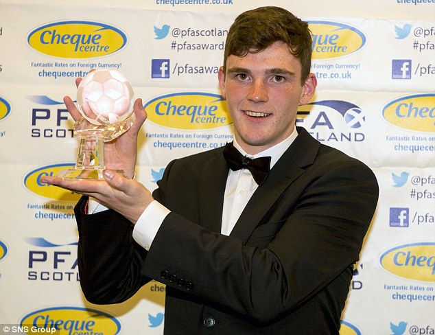 Prize guy: Andrew Robertson shows off his PFA Scotland Young Player of the Year award