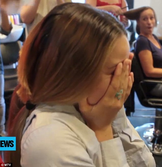 Blubbering: Shailene Woodley was crying like a baby when he luscious locks were chopped off