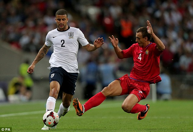 Against time: Kyle Walker is in a race to be fit for the World Cup in Brazil this summer