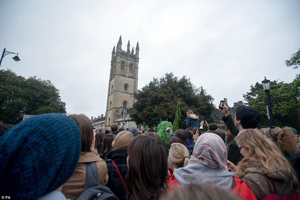 Looking up: The Hymnus Eucharisticus is a Latin mass sung by choristers at daybreak from the top of the Magdalen Tower of the nearby college