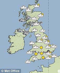 Met Office forecast for Saturday