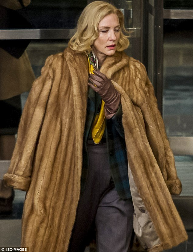 Upcoming role: Cate looked almost unrecognisable on set of the film Carol in Cincinnati, Ohio, two weeks ago