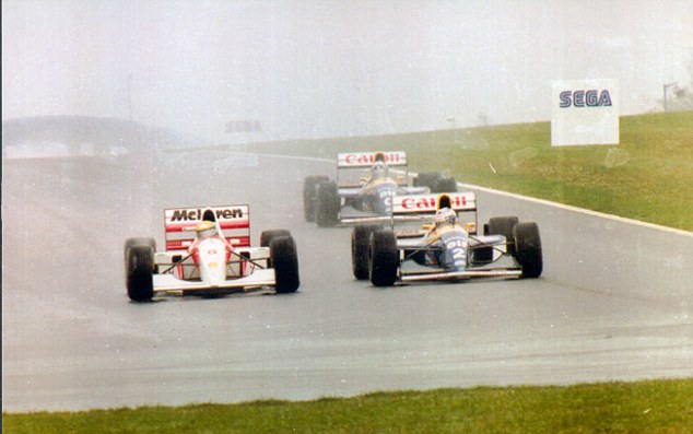 Fight to the front: Senna (left) was famed for his aggressive driving style, which famously saw him dominate the 1993 European GP at Donington Park in tricky wet conditions as he passes Alain Prost's Williams