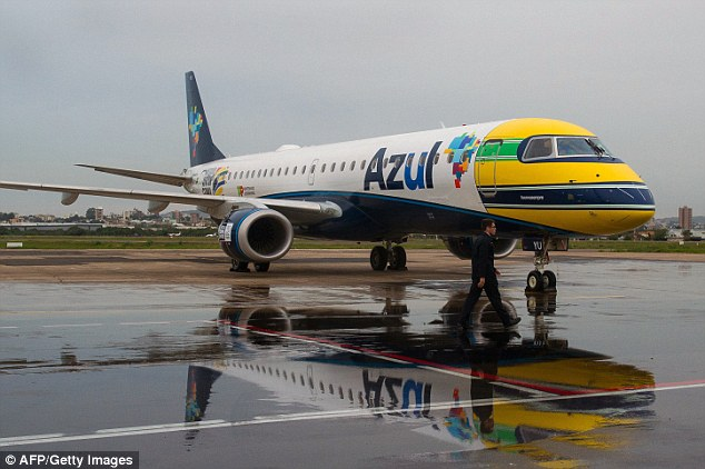 Flying tribute: The front of a Brazilian aircraft has been painted the same colours as Ayrton Senna's crash helmet