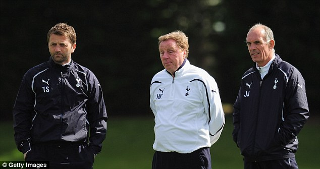 Behind the scenes: And was then hired as a coach under Harry Redknapp (centre) in 2008