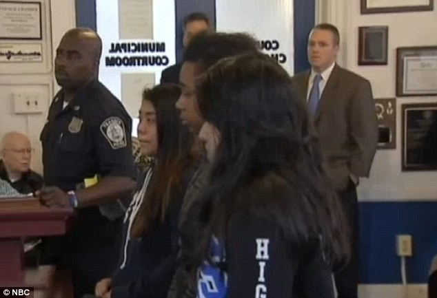 Three teenage girls who were arrested as part of the high school prank appeared in a New Jersey court today wearing their high school sweatshirts
