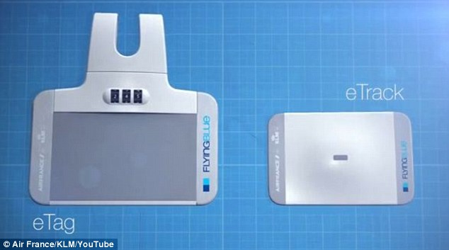 The eTag, pictured left, can also be used with the eTrack, pictured right. The eTrack traces luggage around the world, in case it's lost, left behind or stolen. It is placed inside luggage and can be traced using a smartphone or on the web