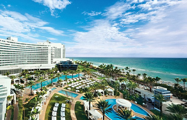 Trendy: The scene at the Fontainebleau hotel in South Beach, Miami