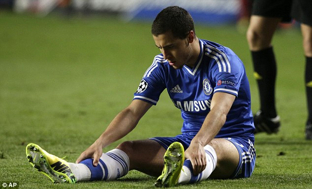 On the floor: Mourinho must keep Eden Hazard happy as Chelsea's main attacking threat