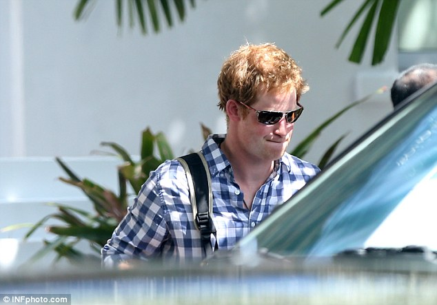 Party prince: Harry leaves the Soho Beach House in Miami on Thursday to board a private jet to Memphis