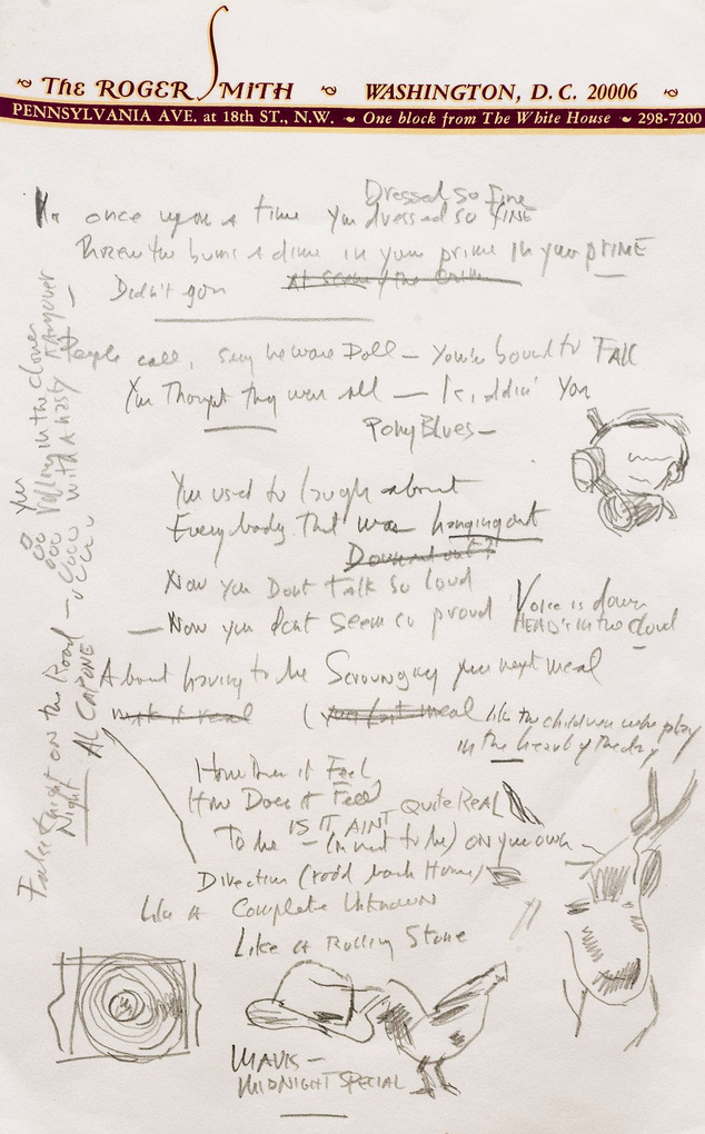 With no direction home: The lyrics contain a number of doodles, including what appears to be a bowler hat as well as the name Al Capone scrawled in the margin