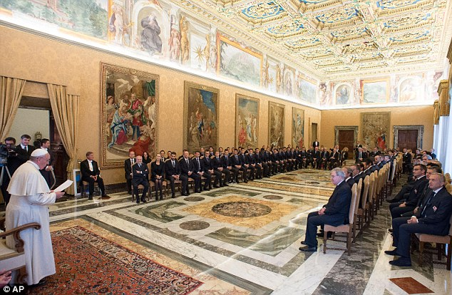 Grand setting: Pope Francis delivers a speech to players and officials from both Napoli and Fiorentina at The Vatican