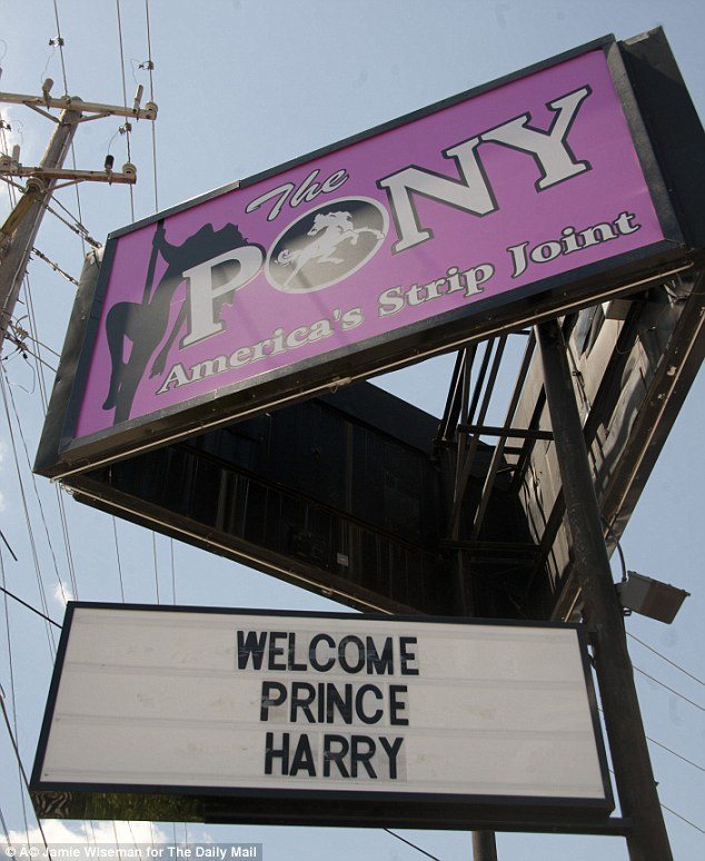 Royal visit: The owners of Memphis strip club, The Pony, have put up a sign welcoming Prince Harry as he arrives in the Tennessee city