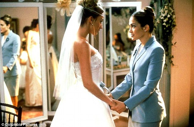 Lots of experience planning weddings: Jennifer Lopez, pictured left, starring in her 2001 smash-hit film The Wedding Planner