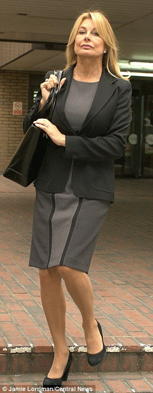 Former model and actress Jilly Johnson leaving Southwark Crown Court after giving evidence