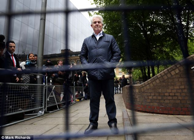 Disgraed PR guru Max Clifford (pictured outside court today) has been jailed for eight years at Southwark Crown Court today