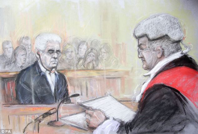 A court artist sketch of Max Clifford appearing at Southwark Crown Court where he was today jailed for eight years